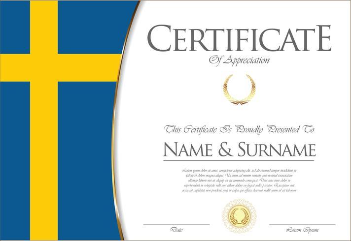 Certificado o diploma de diseño de la bandera de Suecia.