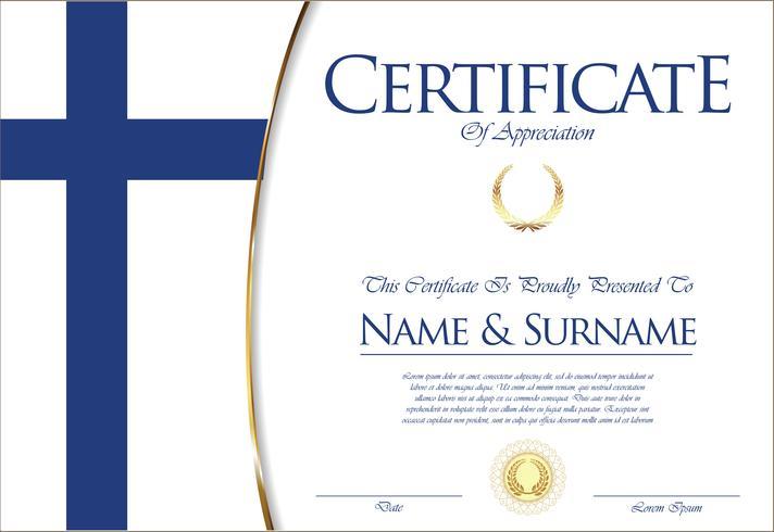 Certificato o diploma Design della bandiera della Finlandia