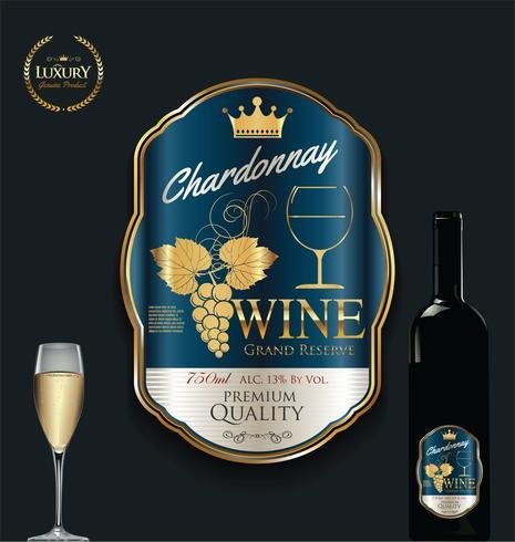 Illustration vectorielle de luxe étiquette de vin doré