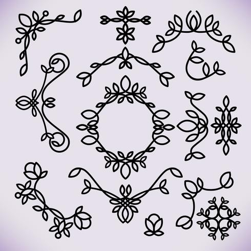Vector line frame design elements, ornament, emblem, logo, background, frames