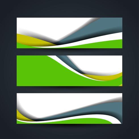 Conjunto de bandeiras onduladas modernas vetor