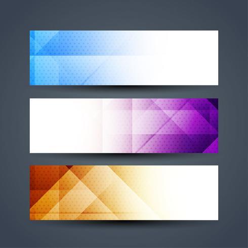 Moderne kleurrijke banners instellen
