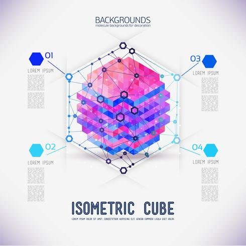 Cubo isometrico concetto astratto, raccolto dalle forme triangolari. vettore