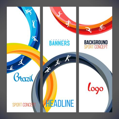 Vektor mall design remsor av färgade ringar och vågor.