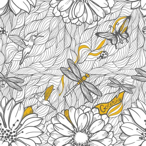 Sin patrón de hojas, libélulas, escarabajos y mariposas.