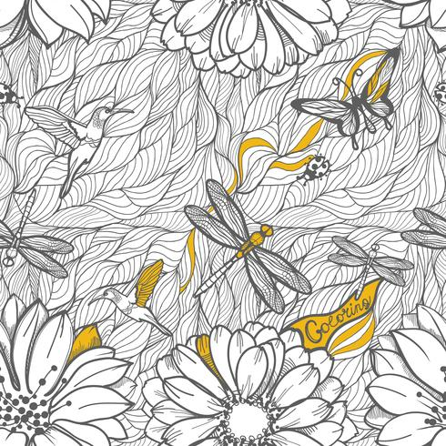 Seamless pattern of leaves, dragonflies, beetles and butterflies.