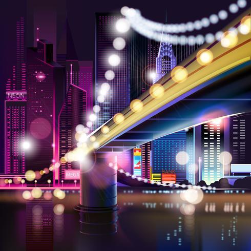 Paisagem urbana abstrata da noite vetor