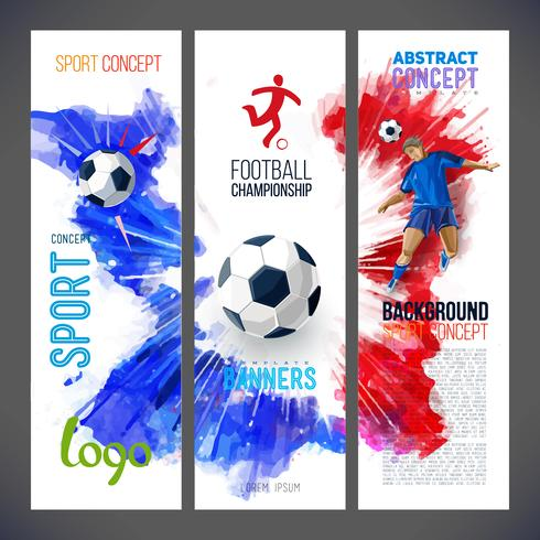 Football championship.Sports banners with Soccer player