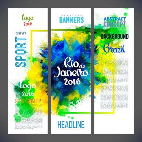 Signs Rio de Janeiro on watercolor ink background of brazil color.