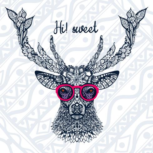 The image of the deer's head with glasses.