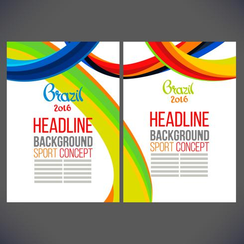 Brochure leaflet with colored lines and waves vector