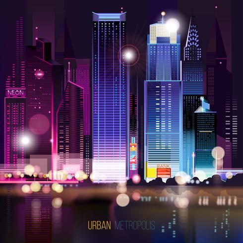 Paysage urbain abstrait de nuit