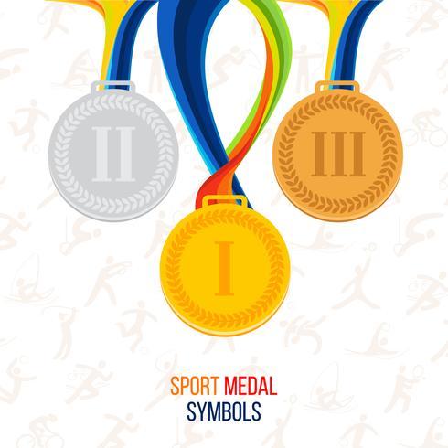 Vector medalla de oro, medalla de plata, medalla de bronce en el contexto de los iconos de los deportes