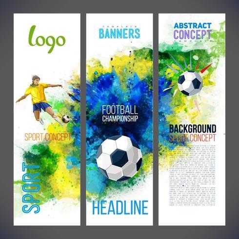 Voetbalkampioenschap 2019. Sportbanners met Voetbalspeler en balvoetbal tegen de achtergrond met waterverven