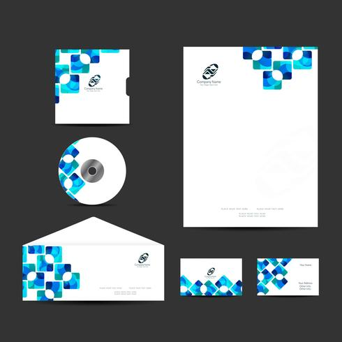 Modern business identity design set vector