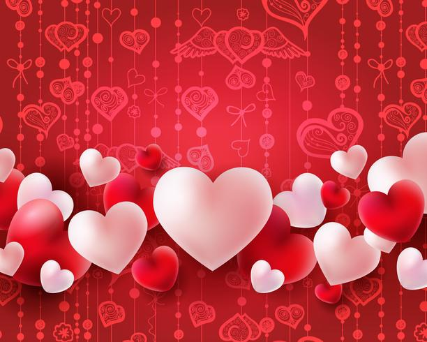 Valentines day background with red and white balloons 3d hearts concept vector