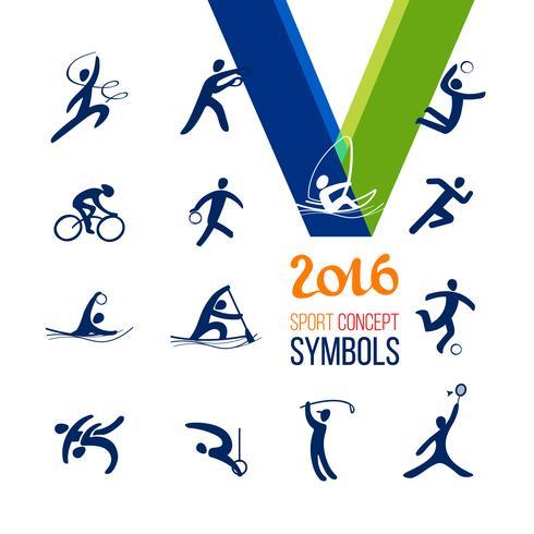 Conjunto de ícones de esportes. Recreação de conceito de esporte de símbolo.