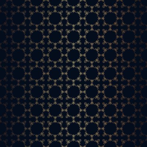 Vector Blumenlinie schwarzen Hintergrund der Art, nahtloses Monogrammdesignmuster.