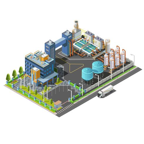 Isometric Industrial area, plant, hydroelectric, water purifying system construction vector