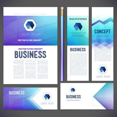 Företagsidentitetssats eller affärssats med abstrakta bakgrunder av geometriska former. vektor