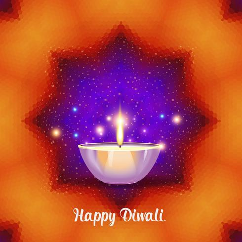 Burning diya on Diwali Holiday on geometric  background.
