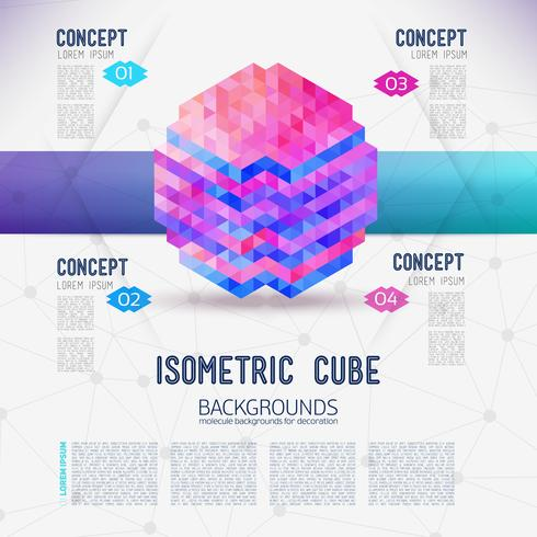 Abstract concept isometric cube, collected from the triangular shapes. vector