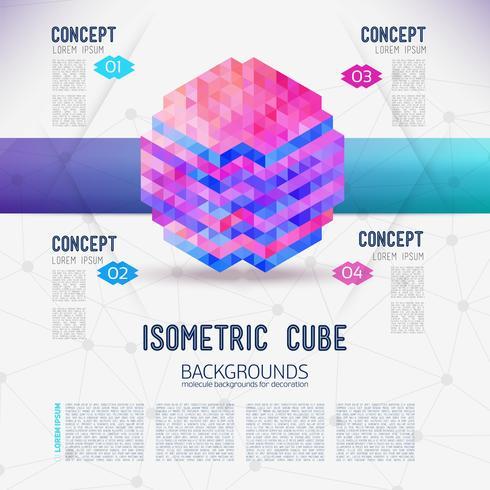 Abstrakt begrepp isometrisk kub, samlad från de triangulära formerna.