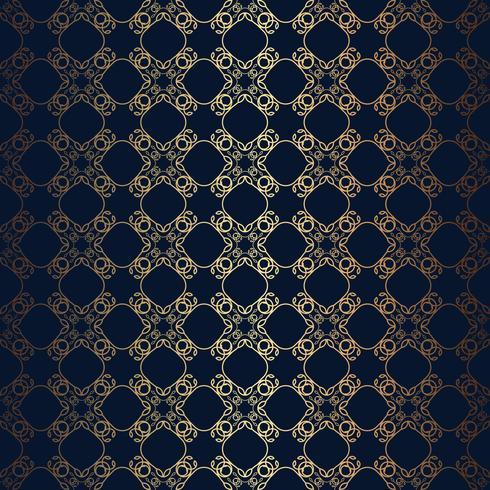 Vector Blumenlinie schwarzen Hintergrund der Art, nahtloses Monogrammdesignmuster
