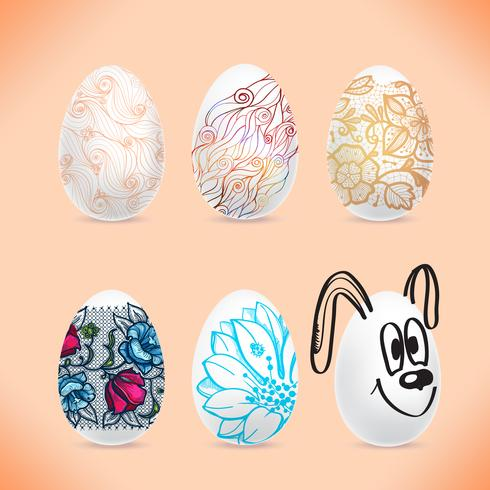 Set of the Easter eggs with the image of colored patterns with shadows. vector