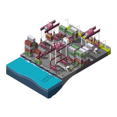 Isometric Industrial with Cranes vector