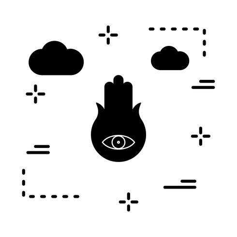 icona dell'occhio della mano vettoriale