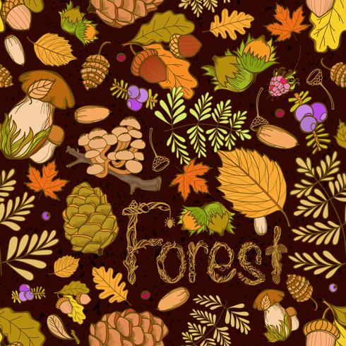 Seamless color wild elements of nature, mushrooms, buds, plants, acorns, leaves.
