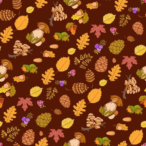 Seamless color wild elements of nature, mushrooms, buds, plants, acorns, leaves. vector