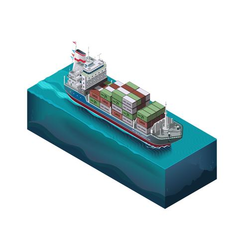 Barge with cargo sailing on the ocean, the process of shipping containers in the port vector