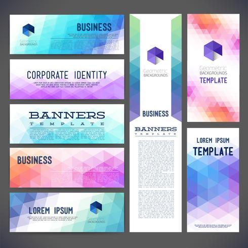 Oito banners de design abstrato vector modelos