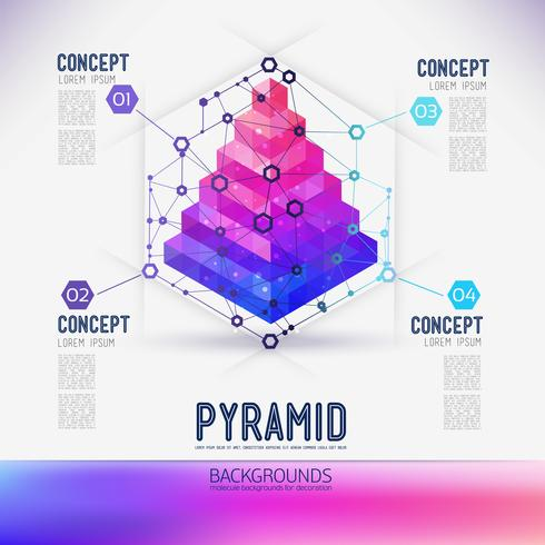 Abstract concept geometric Pyramid, the scope of molecules, in the hexagon.  vector