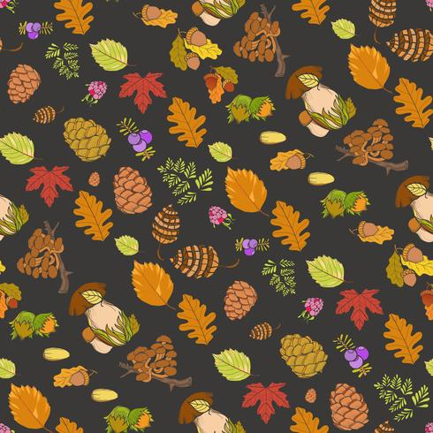 Seamless color wild elements of nature, mushrooms, buds, plants, acorns, leaves vector