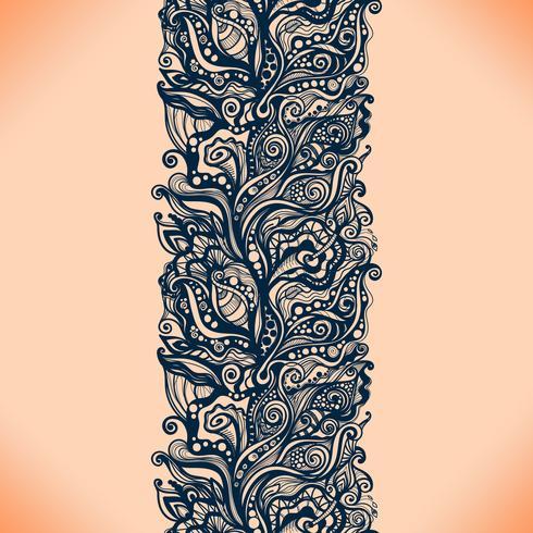 Nahtloses Muster des abstrakten Spitzebandes mit Elementblumen
