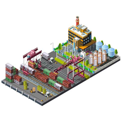 Vector met industriële bouwkranen wordt geplaatst op de spoorweg die