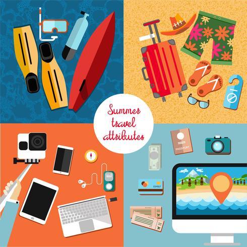 Esenciales de vacaciones vector