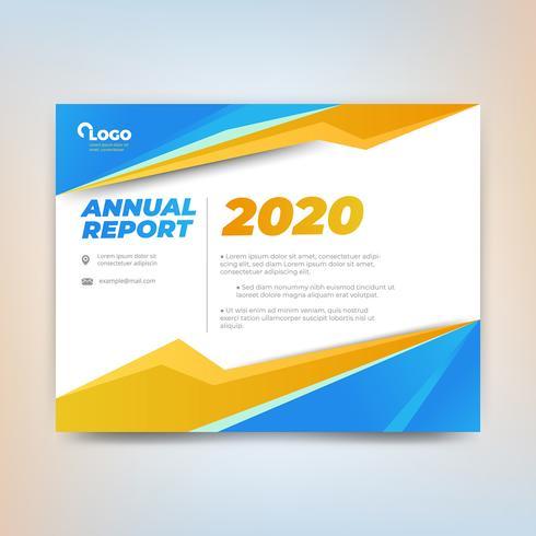 Modèle de rapport annuel, dessin abstrait avec tons orange et bleu