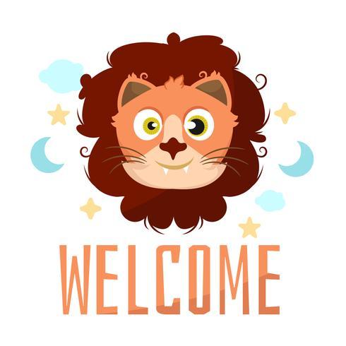 Leeuw dierlijk beeldverhaal baby douche kaart viering
