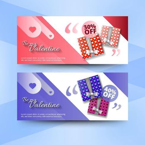 Bannières de vente de Saint Valentin