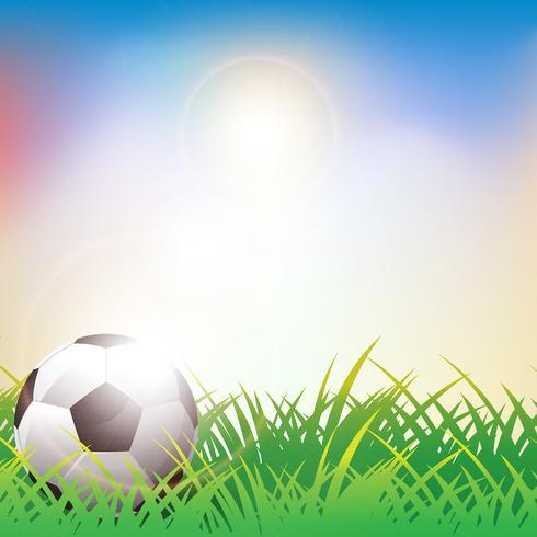 Bola futebol, ligado, grama verde, fundo