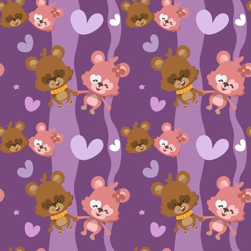 Hearts pattern with bear couple
