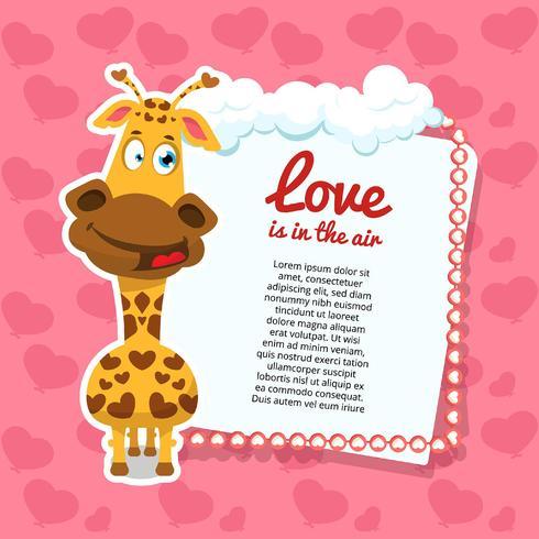 Valentijnsdag achtergrond met giraffe