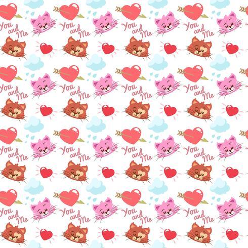 Patrón de gatito con corazón