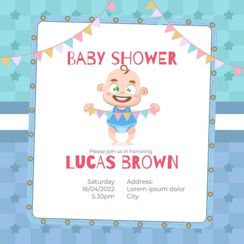 Baby Shower Card For Boy In Cartoon Style Download Free Vector Art