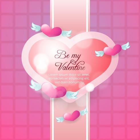 Hintergrund der fliegenden Herzen Valentinstag