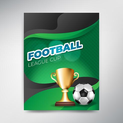 Manifesto della tazza della lega di calcio su fondo verde con la palla e la tazza